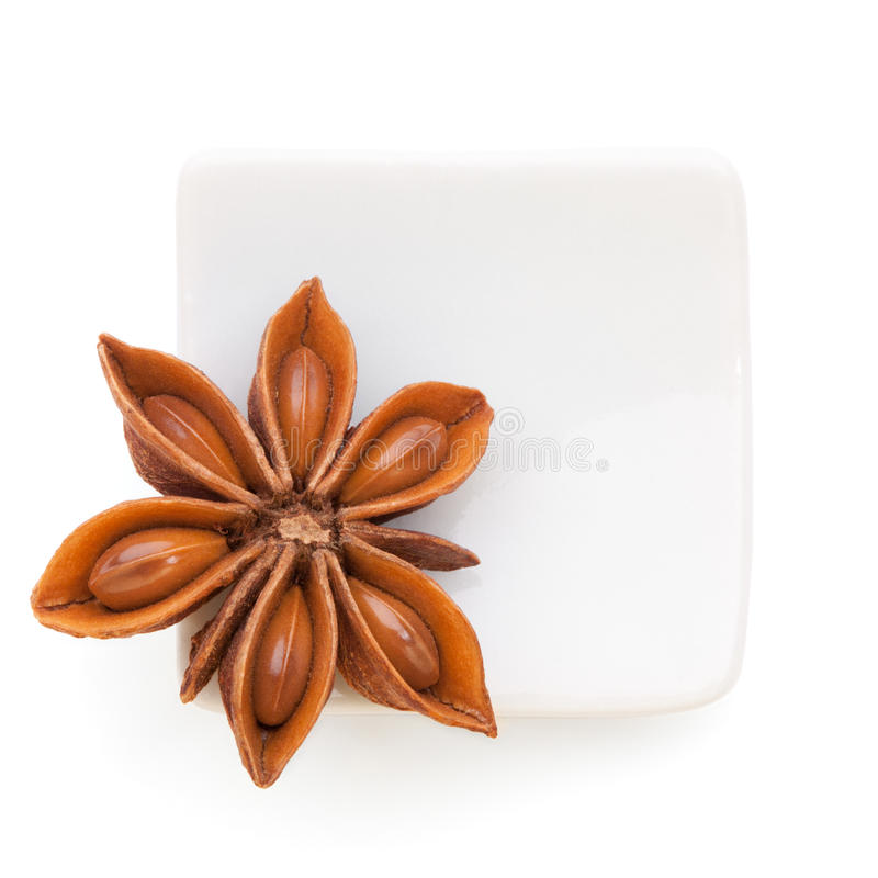 Anise star in a white bowl on white background royalty free stock images