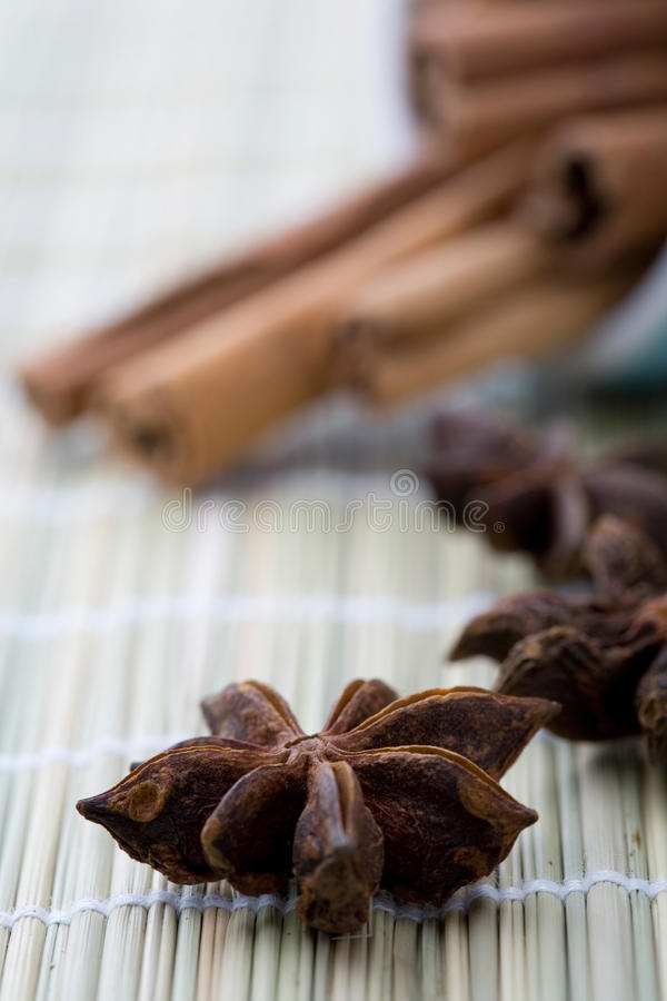 Aniseed and cinnamon. A close-up of dry aniseed stars and whole cinnamon sticks on a table mat stock images