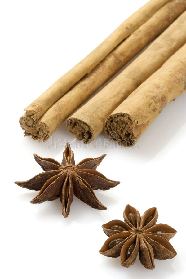 Aniseed and Cinnamon. Isolated over a white background stock photos