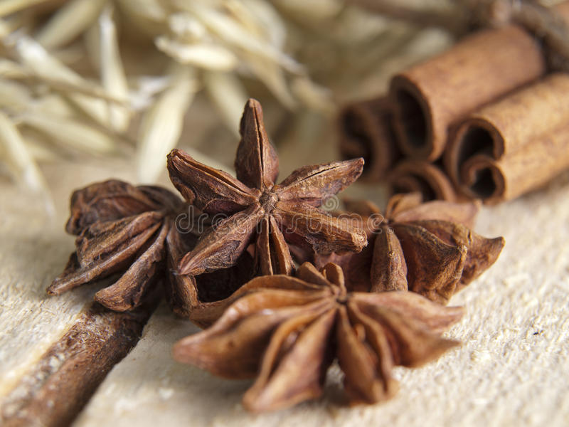 Aniseed tree and cinnamon. On a table that is made out of tree stock images