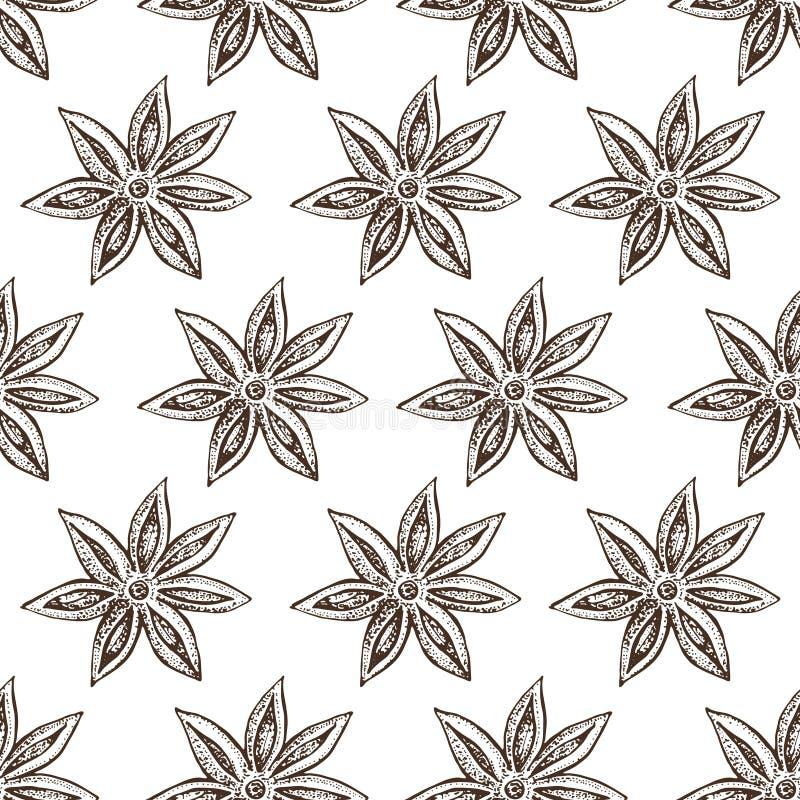 Anisstjärna, badian sömlös modell Säsongsbetonad matvektorillustration som isoleras på vit bakgrund Den tecknade handen skissar vektor illustrationer