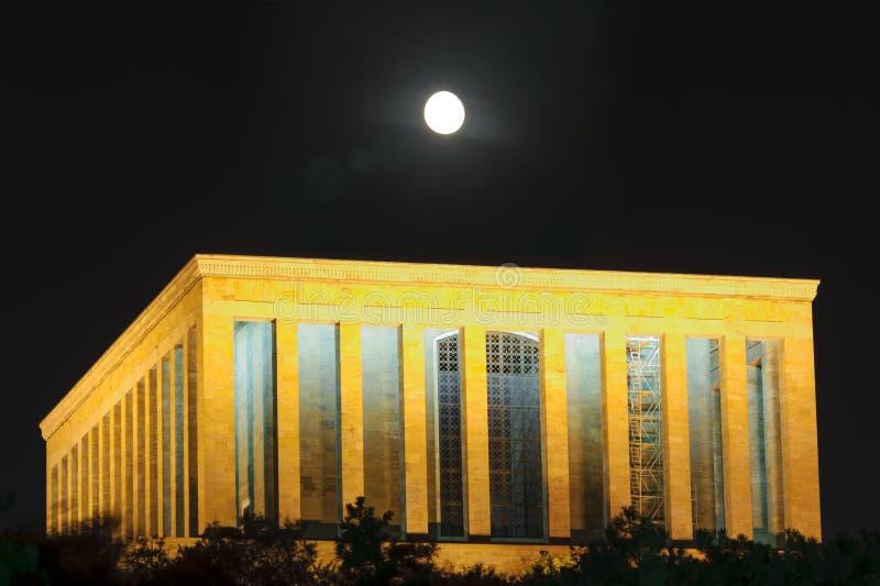 Anitkabir bij nacht Mustafa Kemal Ataturk Mausoleum in Ankara Turkije royalty-vrije stock afbeeldingen