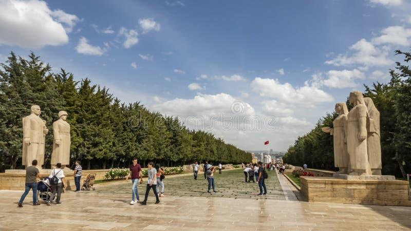 Anitkabir, het mausoleum van de stichter Mustafa Kemal Ataturk van Turkije royalty-vrije stock foto's