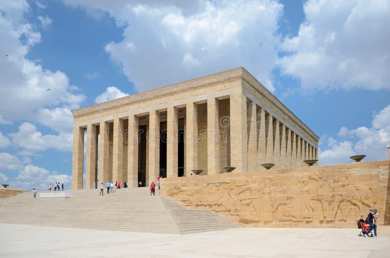 Anitkabir - Mausoleum of Ataturk, Ankara Turkey. Ankara, Turkey-July 03,2016: Anitkabir - The Mausoleum of Ataturk. People visit to convey respect and love royalty free stock photo