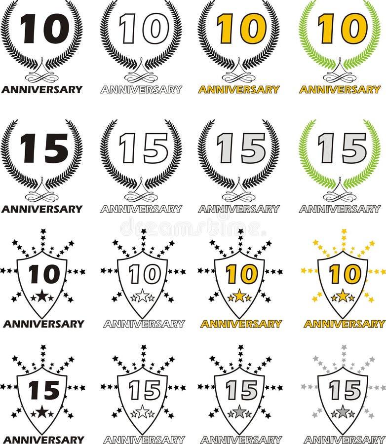 Aniversário 10 15 ilustração stock