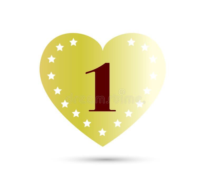 Aniversário, 1 ano com ícone colorido da forma do coração Pode ser usado para a Web, o logotipo, o app m?vel, etc. ilustração royalty free