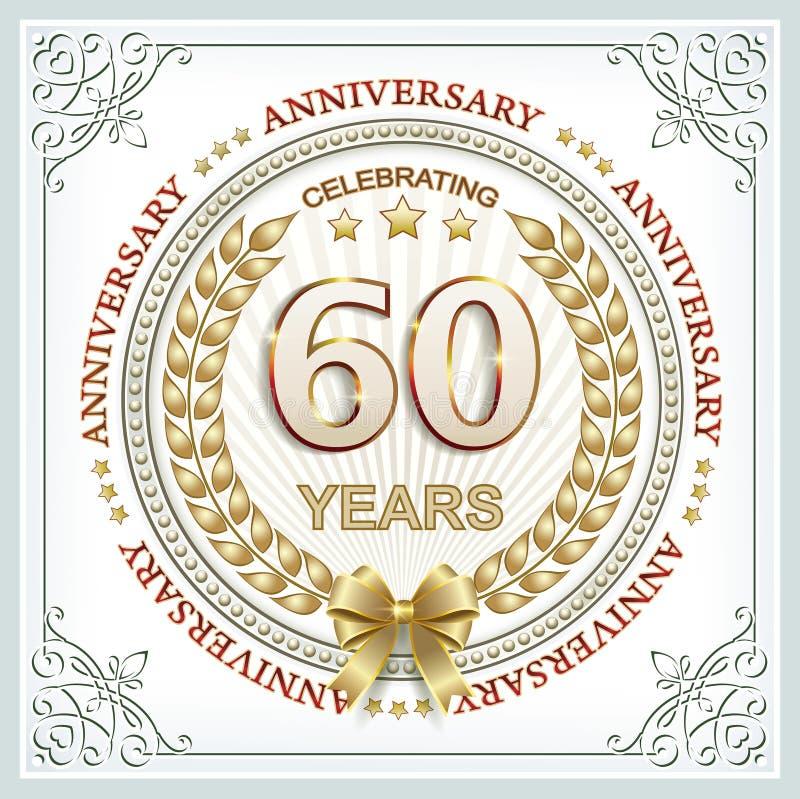 Aniversário 60 anos ilustração do vetor