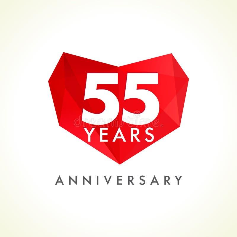 Aniversário 55 anos de logotype de comemoração velho com corações ilustração royalty free