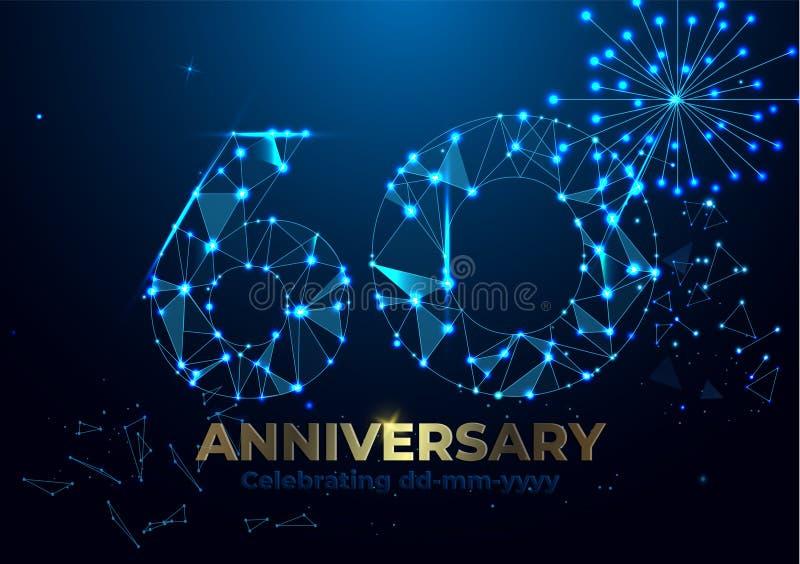 Aniversário 60 Bandeira poligonal do cumprimento do aniversário Comemorando o 60th partido do evento do aniversário Fogos-de-arti ilustração do vetor