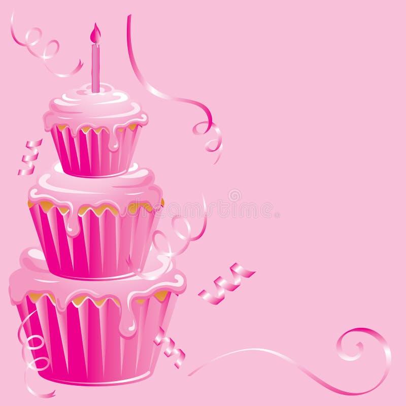 Aniversário cor-de-rosa do queque ilustração stock