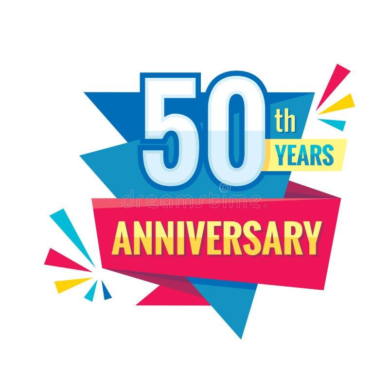 Aniversário criativo dos anos do th do emblema 50 Elemento do projeto do crachá do logotipo de cinco moldes Bandeira geométrica a ilustração stock