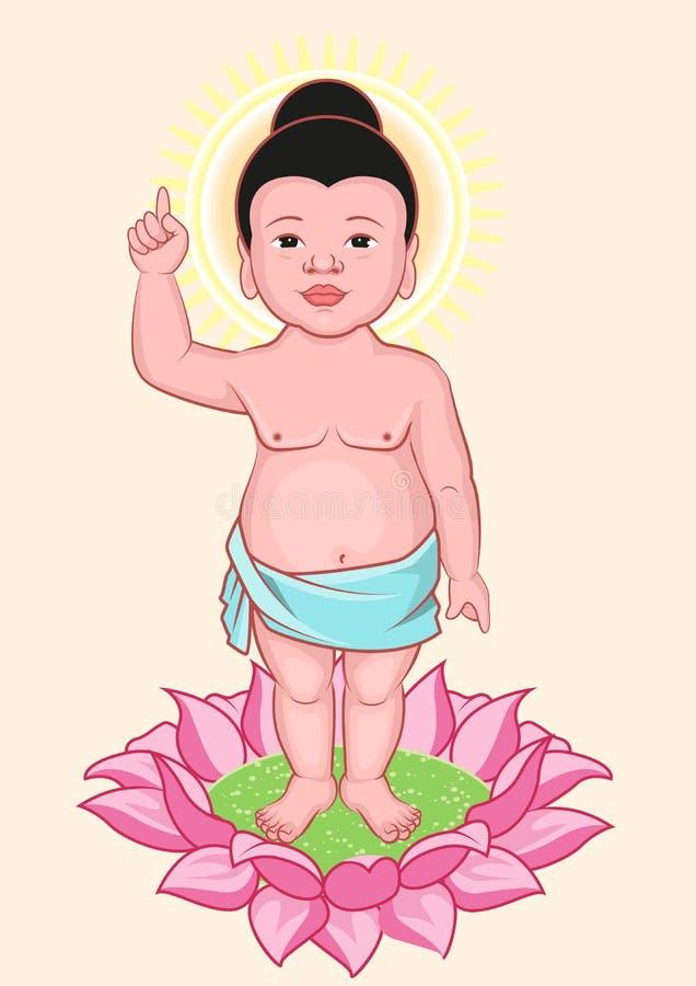 Aniversário da Buda Pouca Buda está na flor de lótus ilustração stock