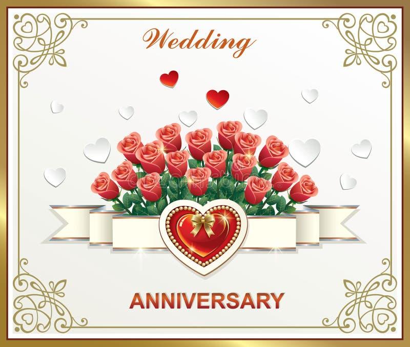 Aniversário de casamento com flores Ilustração vetorial ilustração stock