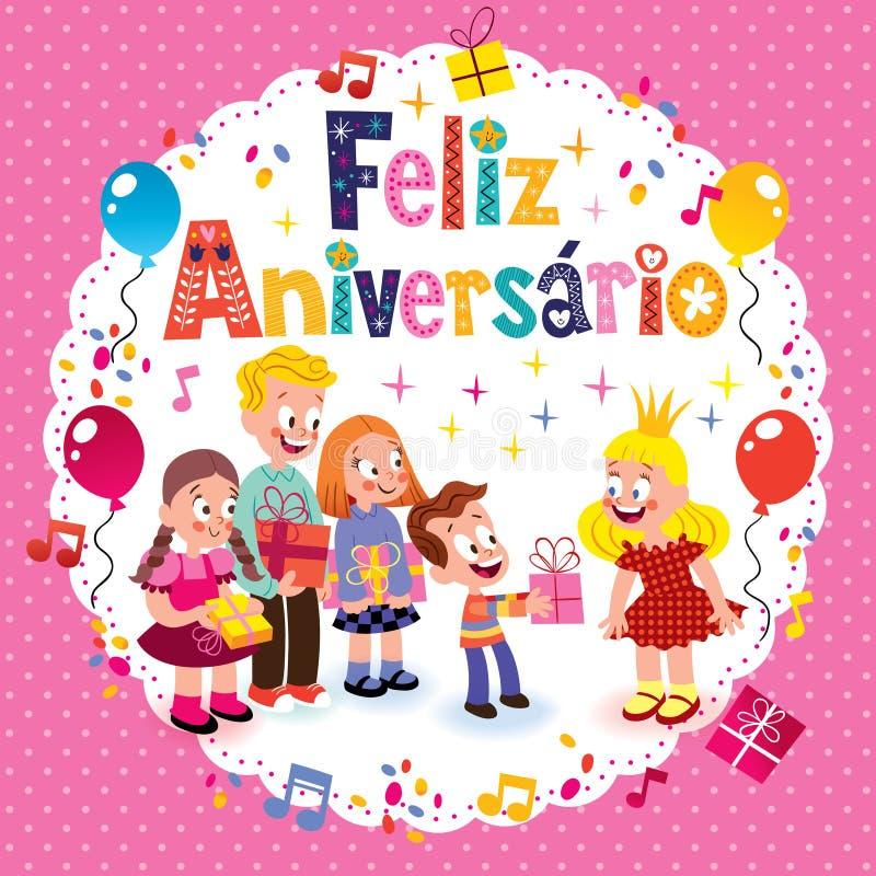 Aniversário de Feliz Aniversario Brazilian Portuguese Happy ilustração royalty free