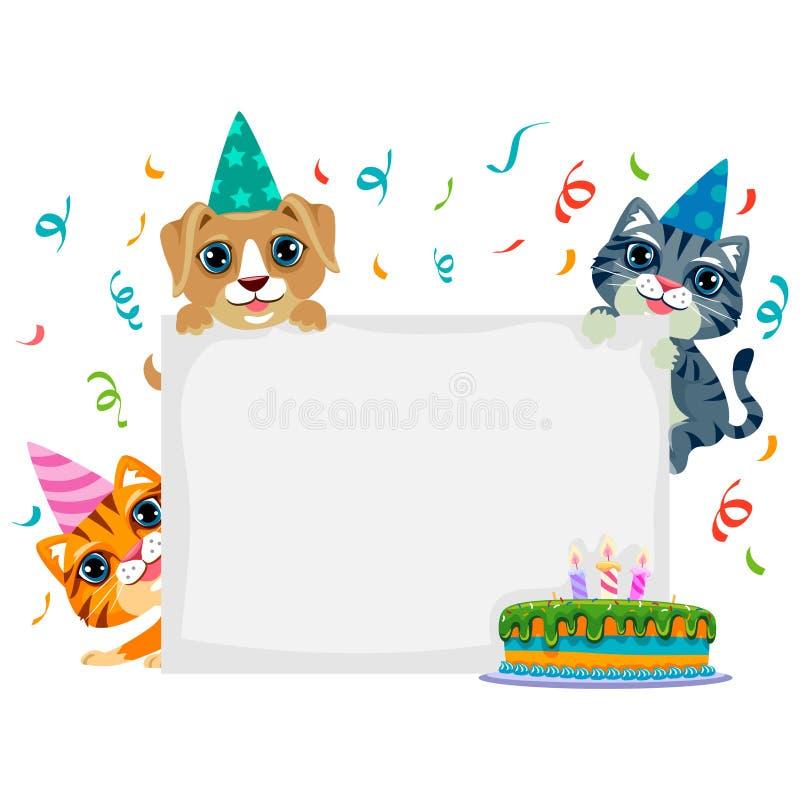 Aniversário do animal de estimação na placa vazia ilustração royalty free