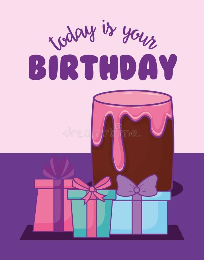 Aniversário do bolo e estilo doces do kawaii dos presentes ilustração royalty free