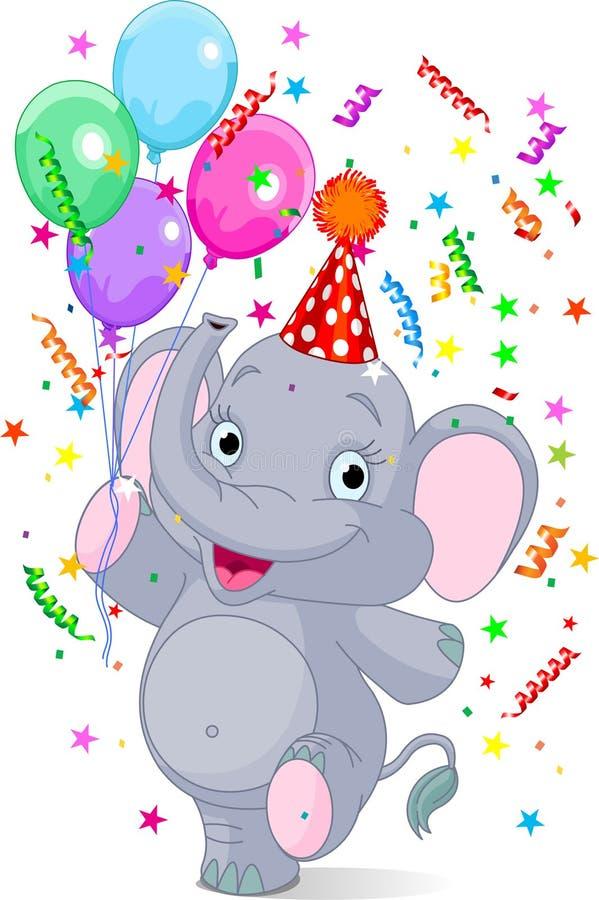 Aniversário do elefante do bebê ilustração do vetor