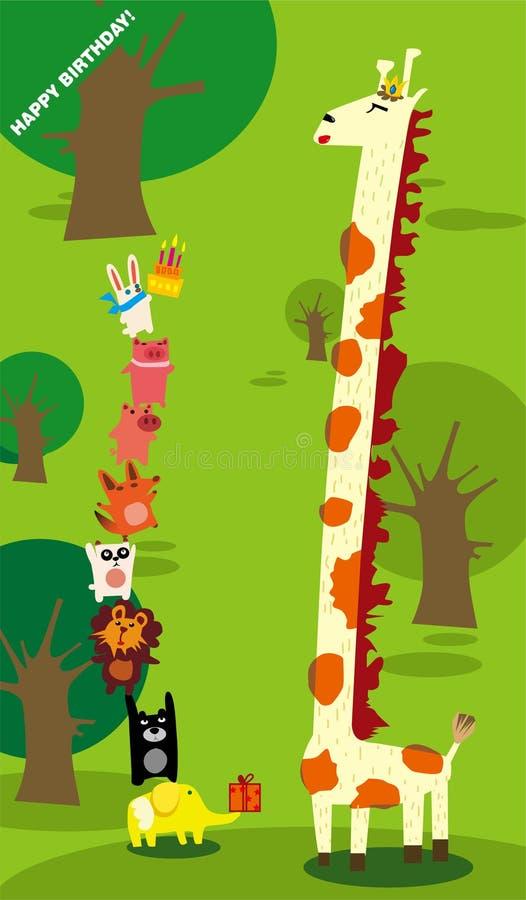 Aniversário do Giraffe ilustração royalty free
