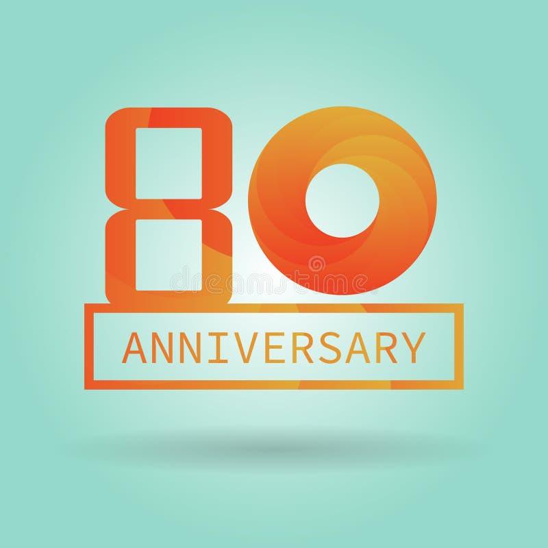Aniversário do logotipo ou do ícone com teste padrão moderno alaranjado Logotipo liso c ilustração royalty free