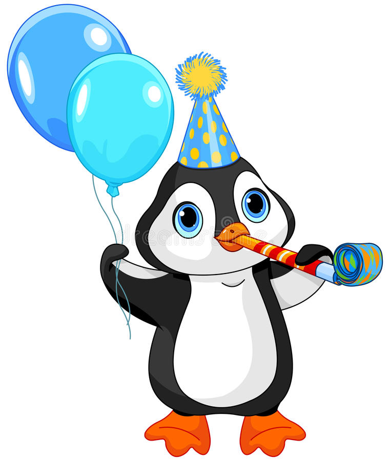 Aniversário do pinguim ilustração do vetor