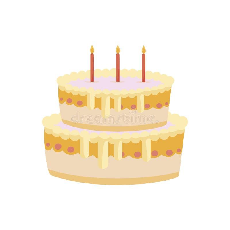 Aniversário doce do bolo com velas ilustração do vetor