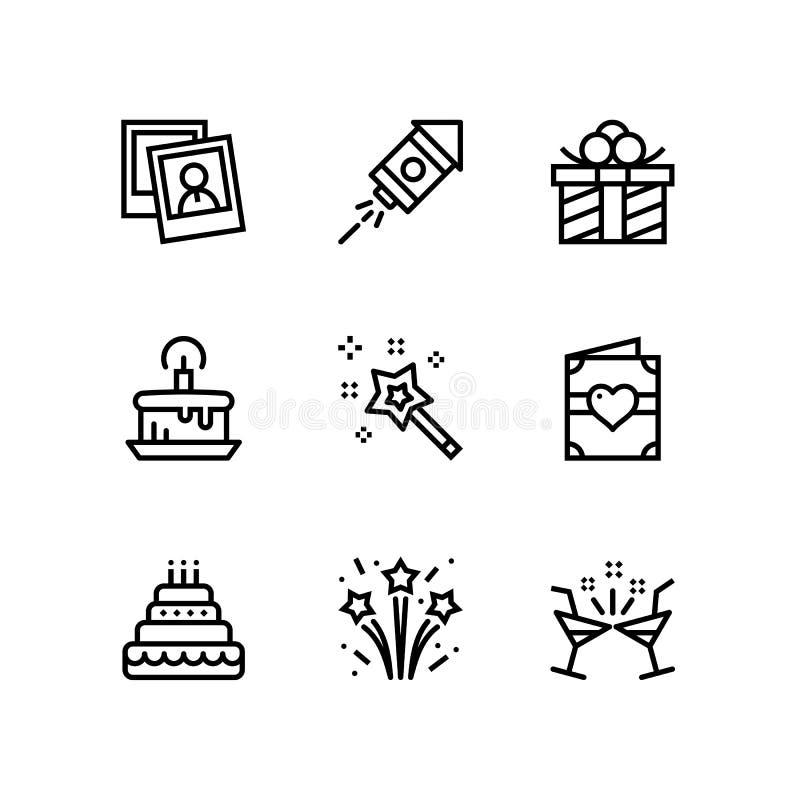 Aniversário, evento, ícones simples do vetor da celebração para a Web e bloco móvel 2 do projeto ilustração do vetor