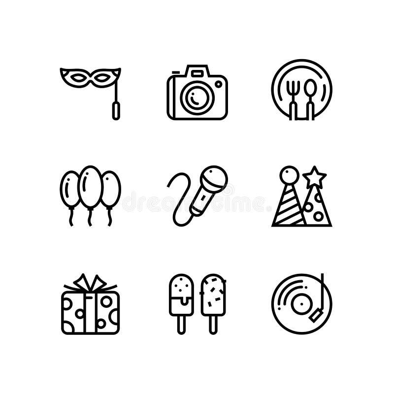 Aniversário, evento, ícones simples do vetor da celebração para a Web e bloco móvel 4 do projeto ilustração stock