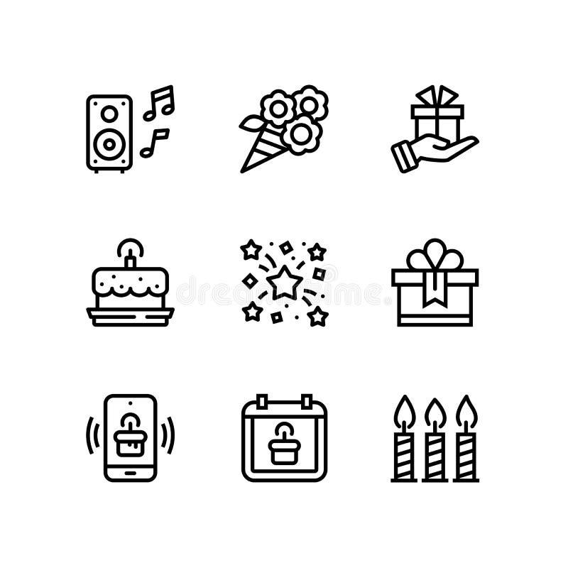 Aniversário, evento, ícones simples do vetor da celebração para a Web e bloco móvel 5 do projeto ilustração do vetor