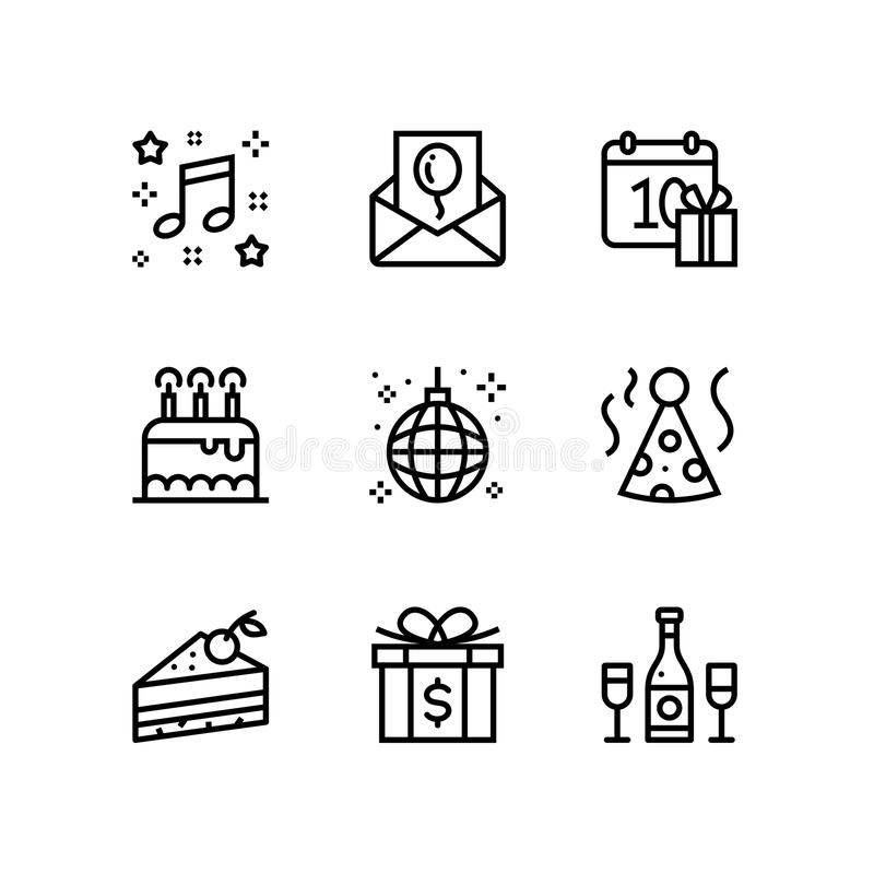 Aniversário, evento, ícones simples do vetor da celebração para a Web e bloco móvel 3 do projeto ilustração stock