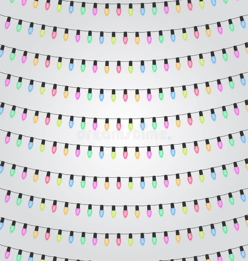 Aniversário, feriado, decoração do festival exterior Elementos do projeto das luzes do Natal e do ano novo Festões coloridas ilustração stock