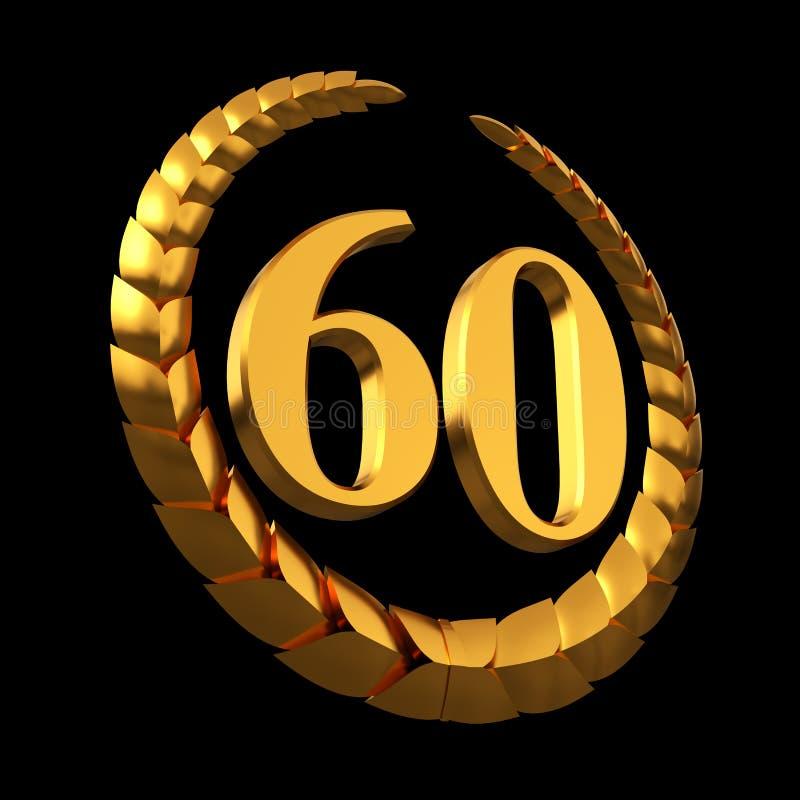 Aniversário Laurel Wreath And Numeral dourado 60 no fundo preto ilustração do vetor