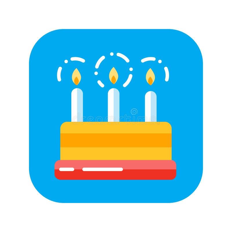Aniversário liso do bolo do ícone da cor com velas Conceito de doces do feriado ilustração stock