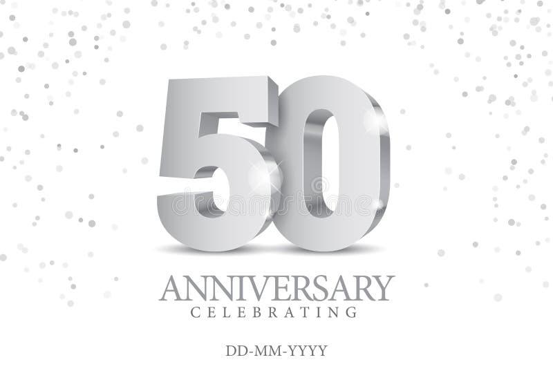 Aniversário 50 números 3d de prata ilustração do vetor