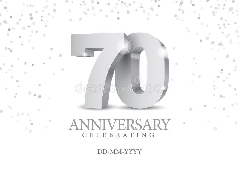 Aniversário 70 números 3d de prata ilustração royalty free