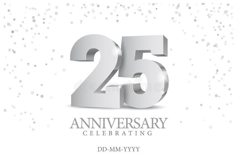 Aniversário 25 números 3d de prata ilustração do vetor