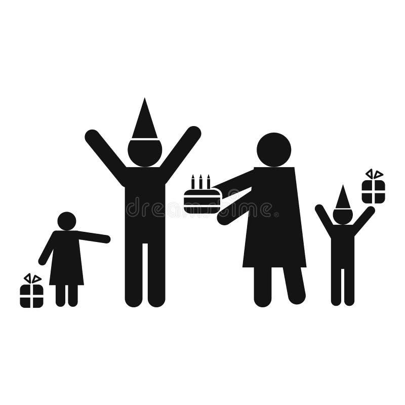 Aniversário no ícone da família ilustração do vetor