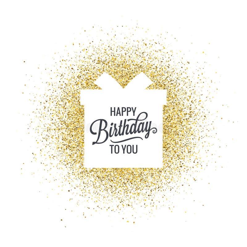 Aniversário que rotula a caixa de presente no fundo abstrato do brilho dourado