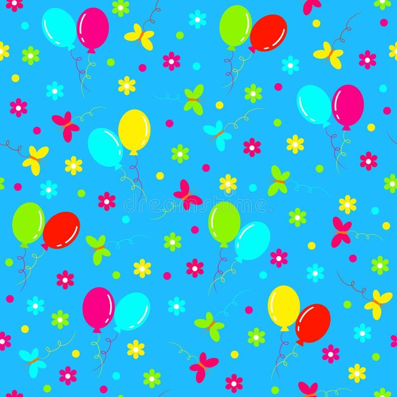 Aniversário sem emenda, teste padrão bolas, borboleta e flor coloridas ilustração do vetor