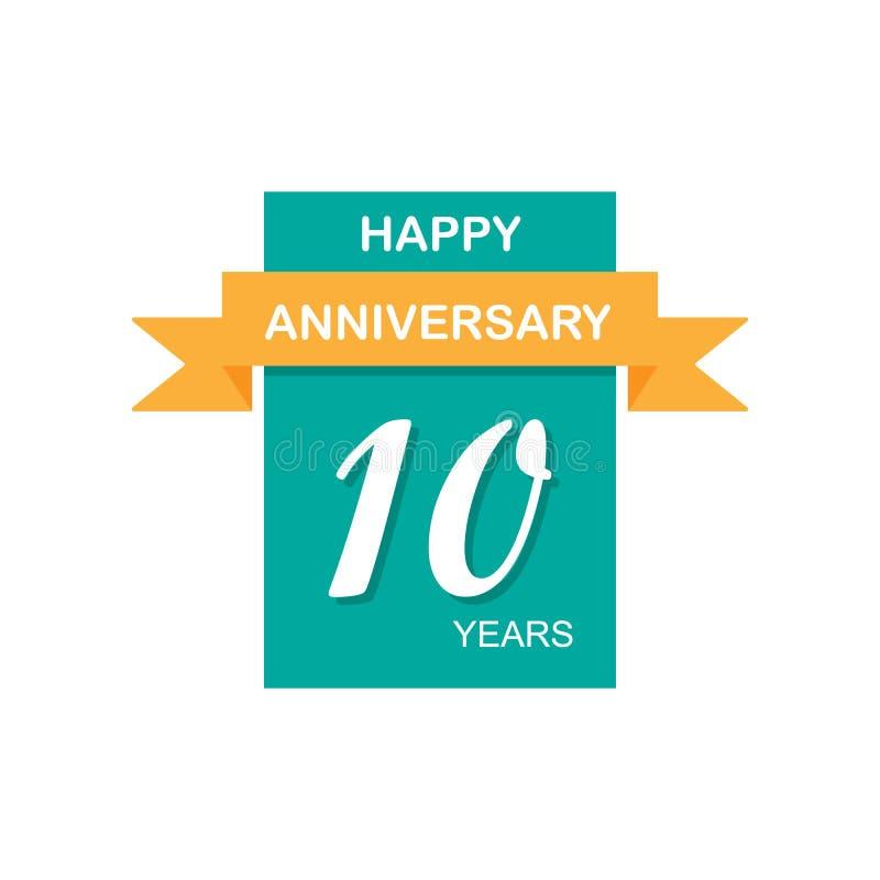 Aniversario, 10 años de icono multicolor Puede ser utilizado para la web, logotipo, app móvil, UI, UX libre illustration