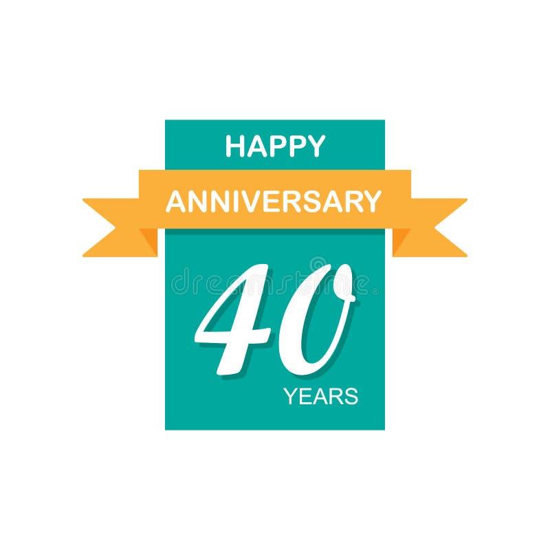 Aniversario, 40 años de icono multicolor Puede ser utilizado para la web, logotipo, app móvil, UI, UX libre illustration