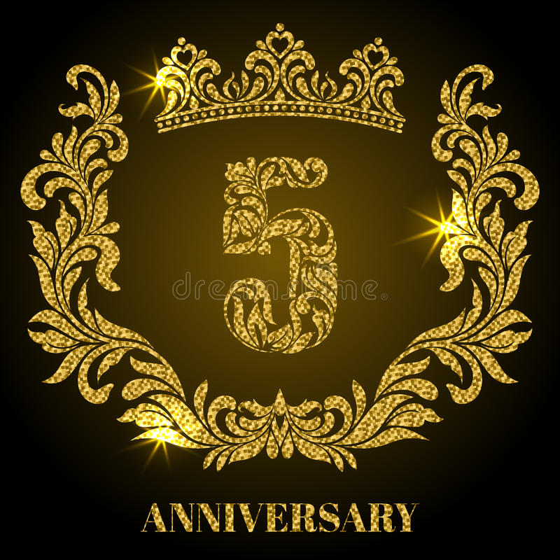 Aniversario de 5 años Dígitos, marco y corona hechos en remolinos libre illustration