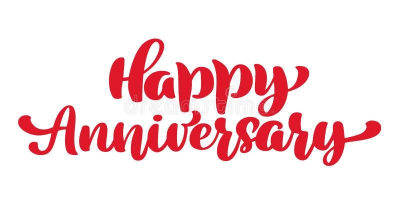 Aniversario feliz Tarjeta de felicitación Vector el texto de la boda del vintage, mano dibujada poniendo letras a frase Citas del stock de ilustración