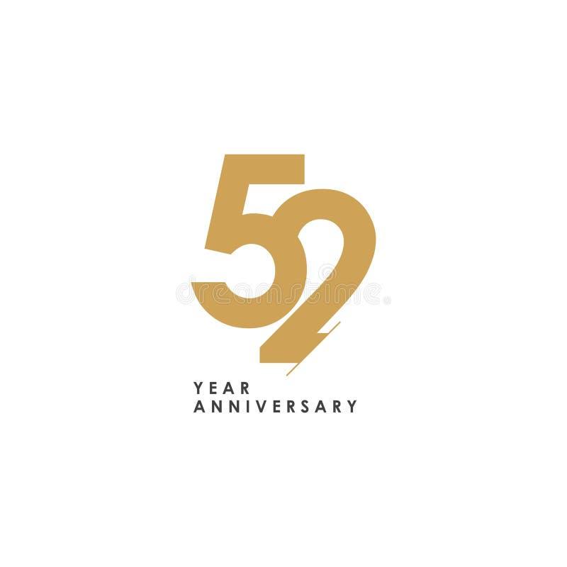 aniversario Logo Vector Template Design Illustration de 52 años stock de ilustración