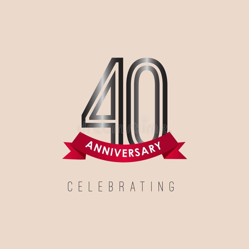 aniversario Logo Vector Template Design Illustration de 40 años libre illustration