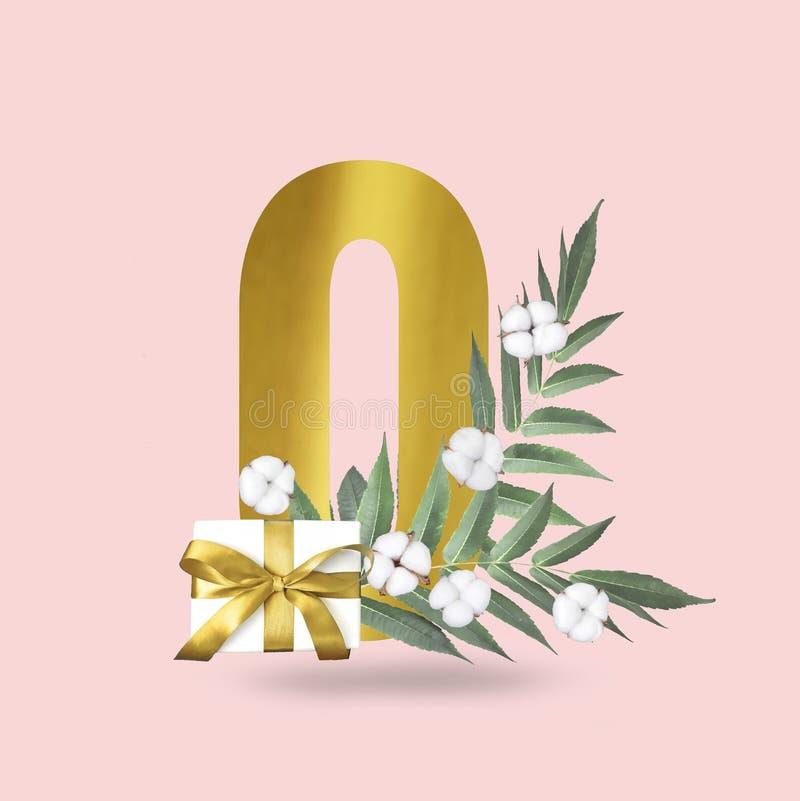 Aniversario número cero con la caja de regalo, las flores del algodón, las hojas y la textura de oro foto de archivo libre de regalías