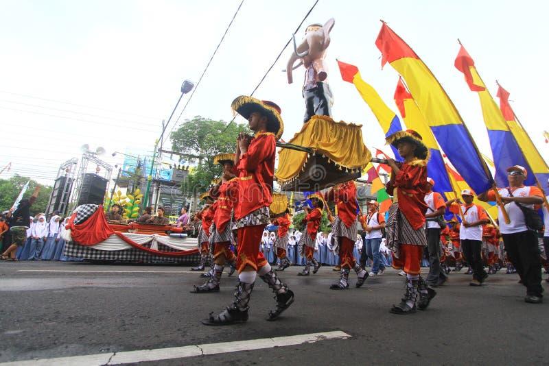 Aniversario Sragen de la ciudad del carnaval imágenes de archivo libres de regalías