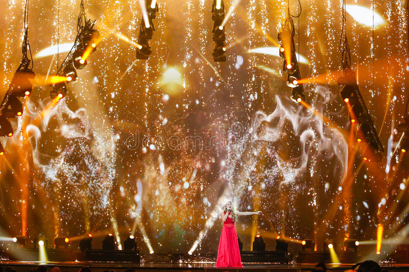 Anja Nissen from Denmark Eurovision 2017. KYIV, UKRAINE - MAY 12, 2017: Anja Nissen from Denmark at the Grand Final rehearsal during Eurovision Song Contest, in stock photo