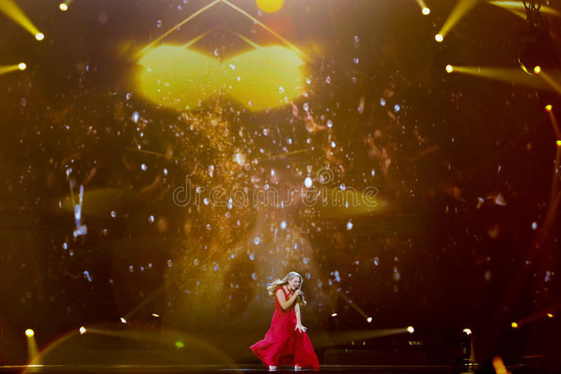 Anja Nissen from Denmark Eurovision 2017. KYIV, UKRAINE - MAY 12, 2017: Anja Nissen from Denmark at the Grand Final rehearsal during Eurovision Song Contest, in royalty free stock photo