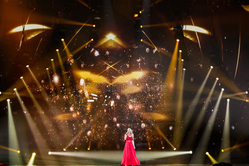 Anja Nissen from Denmark Eurovision 2017. KYIV, UKRAINE - MAY 12, 2017: Anja Nissen from Denmark at the Grand Final rehearsal during Eurovision Song Contest, in stock image