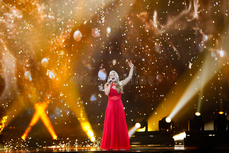 Anja Nissen from Denmark Eurovision 2017. KYIV, UKRAINE - MAY 12, 2017: Anja Nissen from Denmark at the Grand Final rehearsal during Eurovision Song Contest, in royalty free stock photography